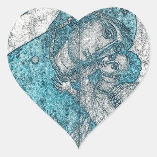 Virgin Mary Baby Jesus Angel Portrait Vintage Blue Heart Sticker