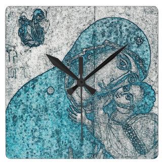 Virgin Mary Baby Jesus Angel Portrait Vintage Blue Square Wall Clock