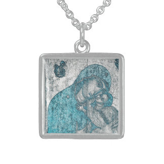 Virgin Mary Baby Jesus Angel Portrait Vintage Blue Sterling Silver Necklace