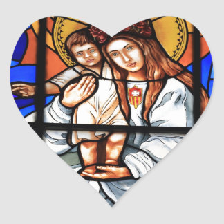 Virgin Mary baby Jesus Christ stained glass window Heart Sticker