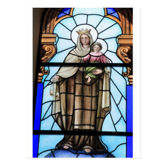Virgin Mary baby Jesus Christ stained glass window Postcard