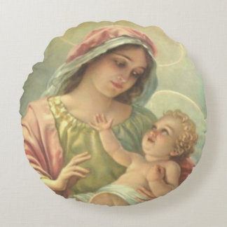 "Virgin Mary & Baby Jesus Round Throw Pillow 16"""