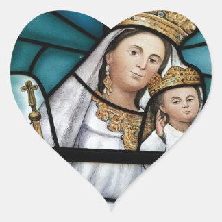 Virgin Mary baby Jesus stained glass window Heart Sticker