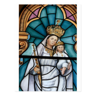 Virgin Mary baby Jesus stained glass window Postcard