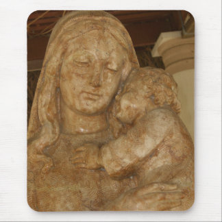 Virgin Mary & Baby Jesus Statue Mouse Pad