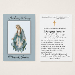 Catholic business cards templates zazzle virgin mary catholic funeral memorial holy card colourmoves