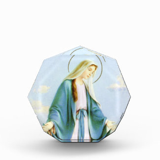 Virgin Mary Crescent Moon Acrylic Octagon Award