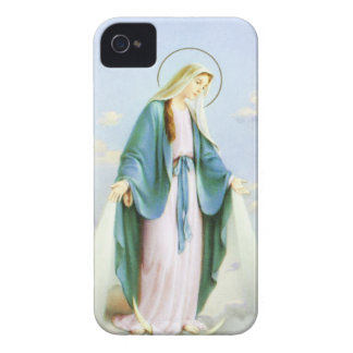 Virgin Mary Crescent Moon _Blue iPhone 4 Cases