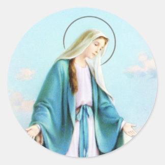 Virgin Mary Crescent Moon Classic Round Sticker