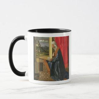 Virgin Mary, from The Annunciation diptych (oil on Mug