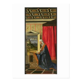 Virgin Mary, from The Annunciation diptych (oil on Postcard