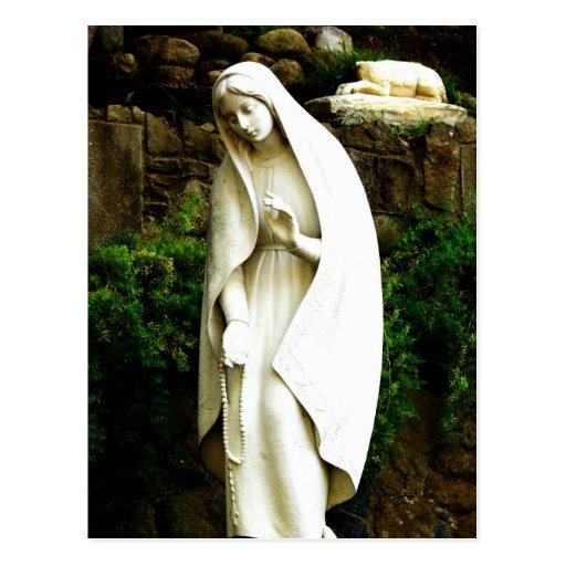 virgin mary garden statue postcard zazzle