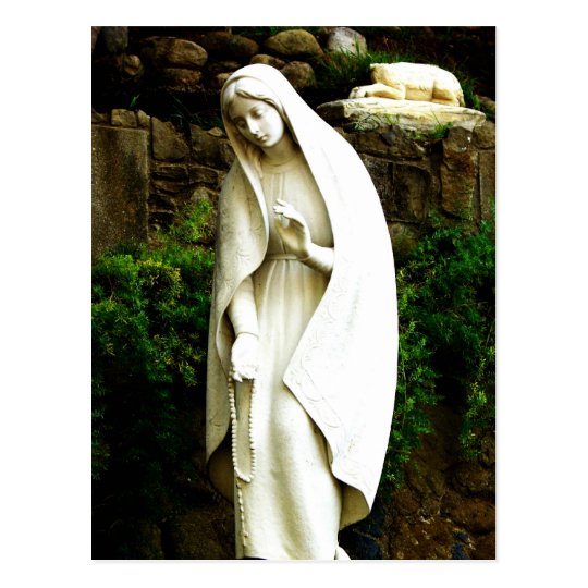 Merveilleux Virgin Mary Garden Statue Postcard