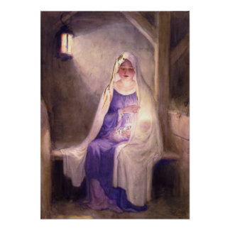 Virgin Mary Holding Baby Jesus 1912 Poster