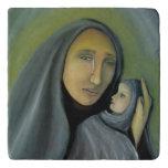 Virgin Mary Holding Baby Jesus Religious Xmas Trivet