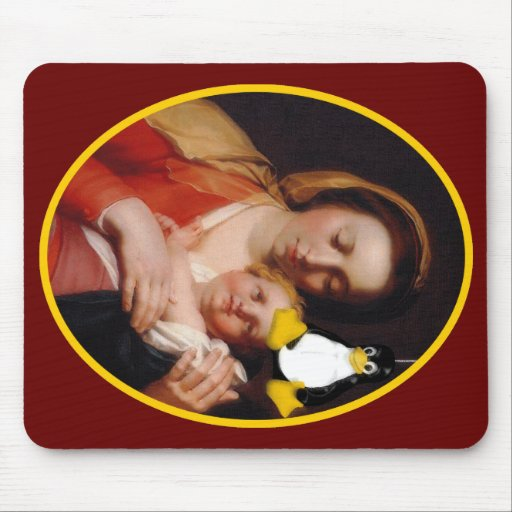 VIRGIN MARY JESUS LINUX TUX MOUSE PAD