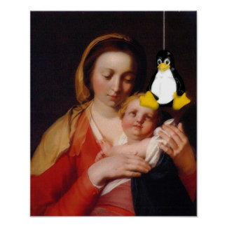 VIRGIN MARY JESUS LINUX TUX POSTERS