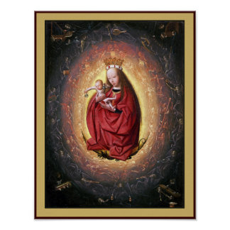 Virgin Mary & Jesus with Angels Playing Music Poster