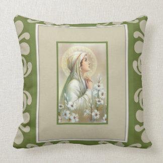 Virgin Mary Lady  Mental Peace Lilies Green Decor Throw Pillow