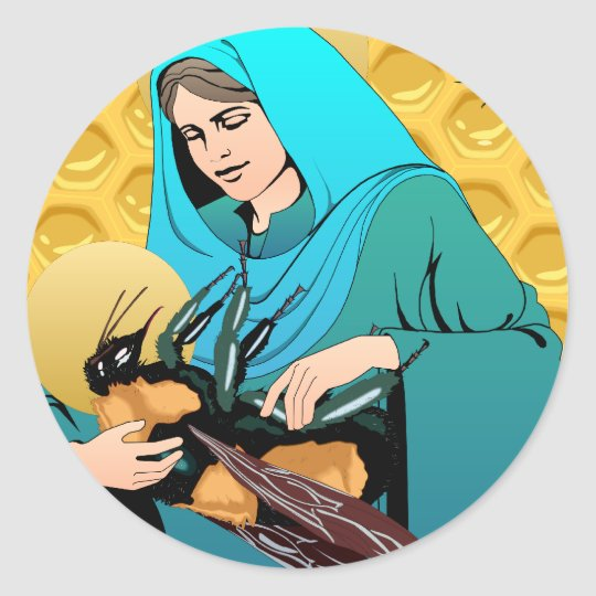 Virgin Mary Madonna & Bumble Bee Classic Round Sticker