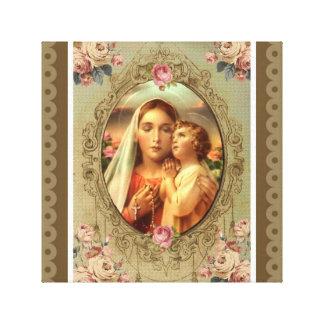 Virgin Mary Madonna Child Jesus Roses Rosary Canvas Print