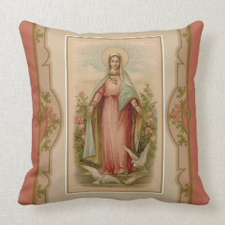 Virgin Mary Madonna with doves & flowers Pillow