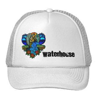 virgin mary ocean logo and black waterhouse font. trucker hat
