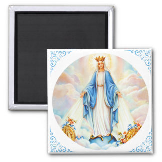 Virgin Mary of Grace Medal Queen Crown 2 Inch Square Magnet
