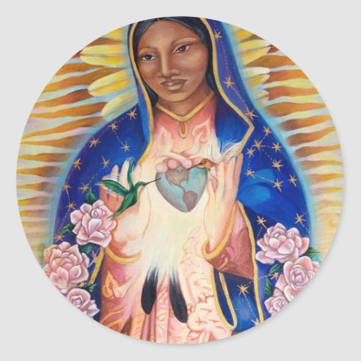 Virgin mary our lady of guadalupe classic round sticker for Our lady of guadalupe arts and crafts
