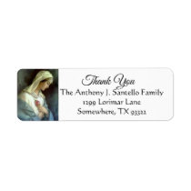 Virgin Mary Pink RosesThank You Label
