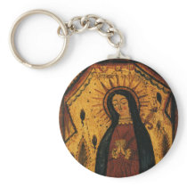 Virgin Mary Praying by Pedro Antonio Fresquis Keychain
