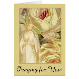 Virgin Mary Praying Roses Card