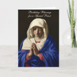 "Virgin Mary Religious Priest Birthday Prayer Card<br><div class=""desc"">This is a beautiful religious traditional Catholic vintage image of the Blessed Virgin Mary known as Jungfrun i bön (1640-1650) by Giovanni Battista Salvi da Sassoferrato   All text and fonts can be modified.</div>"