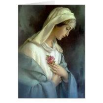 Virgin Mary Roses Catholic Condolence Thank You Card