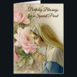 """Virgin Mary Roses Catholic Priest Birthday Prayer Card<br><div class=""""desc"""">Let these beautiful Blessed Virgin Mary cards express your appreciation to your priest friends on their birthday!</div>"""