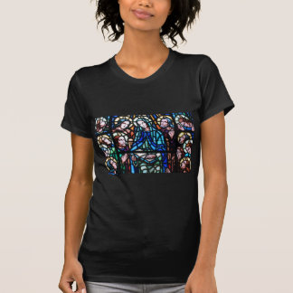 Virgin Mary stained glass window T-shirts