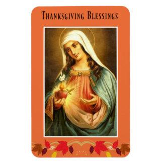 Virgin Mary Thanksgiving Blessings Autumn Leaves Magnet