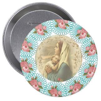 Virgin Mary w/baby Jesus Spirals & roses Pinback Button