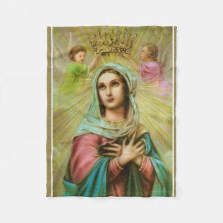 Virgin Mary with Angels being crowned Fleece Blanket