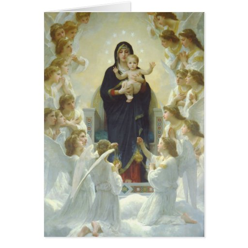 Virgin Mary with Baby Jesus and Angels Card