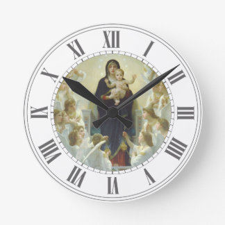 Virgin Mary with Baby Jesus and Angels Round Clock