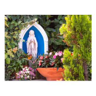 Virgin Mary With Flowers Capri Italy Postcard