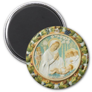 Virgin Mary with Jesus 2 Inch Round Magnet
