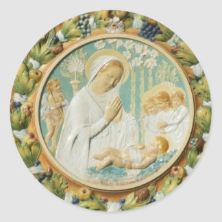 Virgin Mary with Jesus Classic Round Sticker