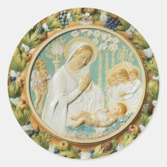 Virgin Mary with Jesus Classic Round Sticker