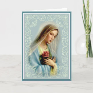 Virgin Mary with Red Rose White Lace Gold Border Card