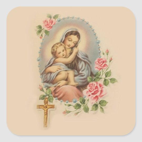 Virgin Mother Mary and Baby Jesus Rosary & Roses Square Sticker ...