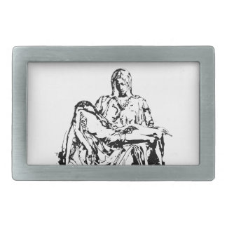 Virgin Mother Mary and Jesus Rectangular Belt Buckle