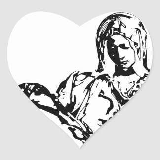 Virgin Mother Mary and Jesus Heart Sticker