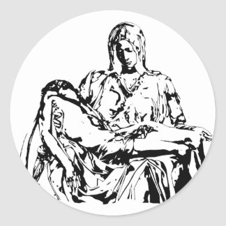 Virgin Mother Mary and Jesus Round Sticker